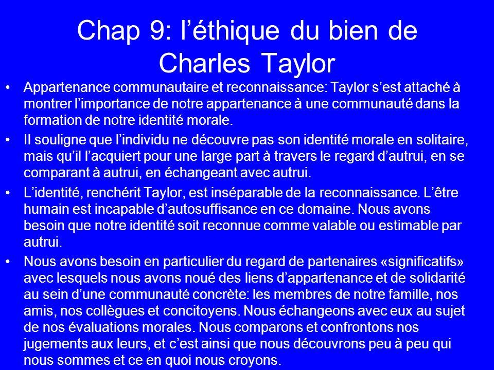 Chap 9: léthique du bien de Charles Taylor Appartenance communautaire et reconnaissance: Taylor sest attaché à montrer limportance de notre appartenan