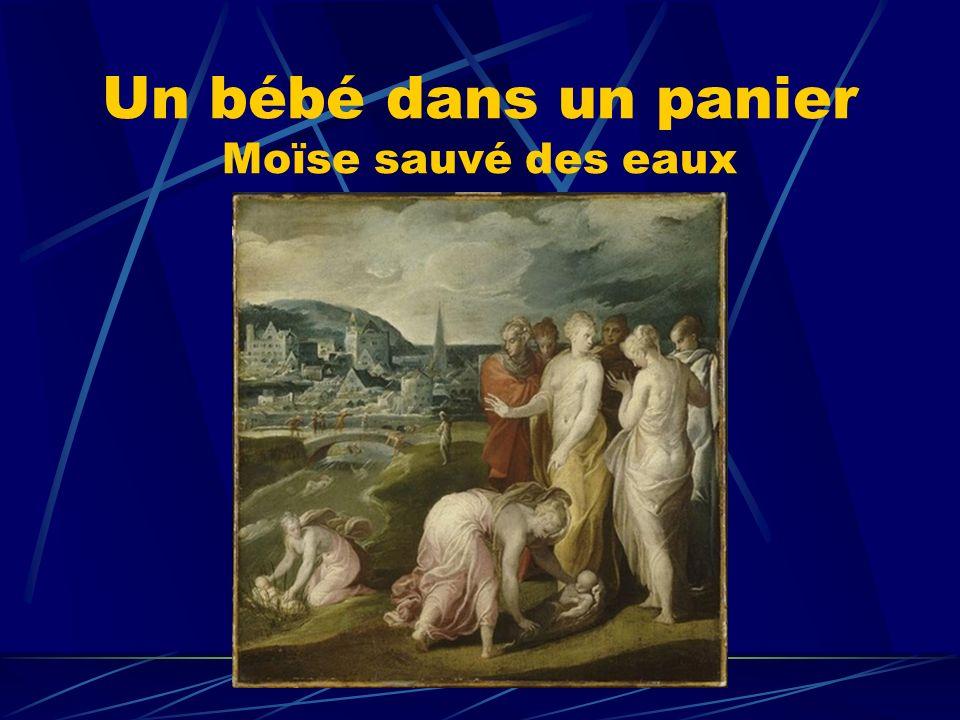 Un bébé dans un panier Moïse sauvé des eaux