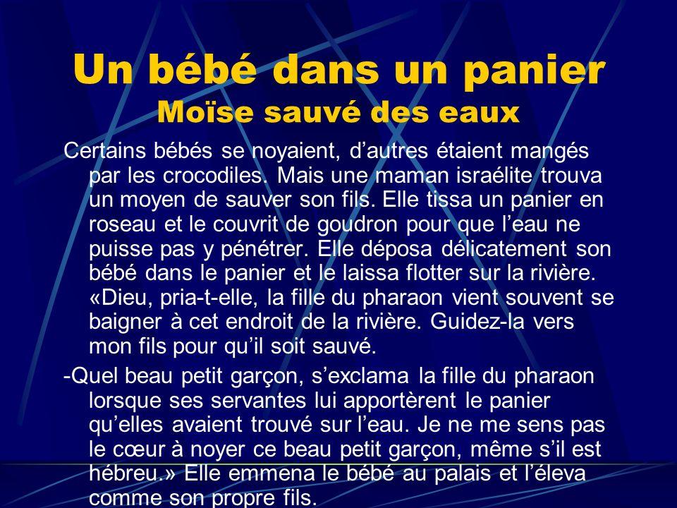 Un bébé dans un panier Moïse sauvé des eaux Certains bébés se noyaient, dautres étaient mangés par les crocodiles. Mais une maman israélite trouva un