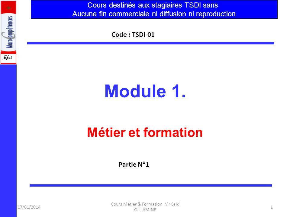 17/01/2014 Cours Métier & Formation Mr Saïd OULAMINE 61 Techniques de Développement Informatique Le métier de TSDI exige 4 points essentiels : Le développement informatique est principalement lié à 1.