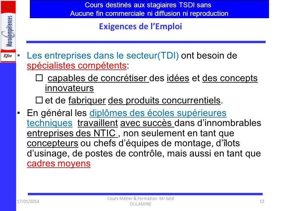 17/01/2014 Cours Métier & Formation Mr Saïd OULAMINE 12 Conclusion1 Secteur économiquement Actif : – Les ( NTIC) sont le secteur d'activité économique