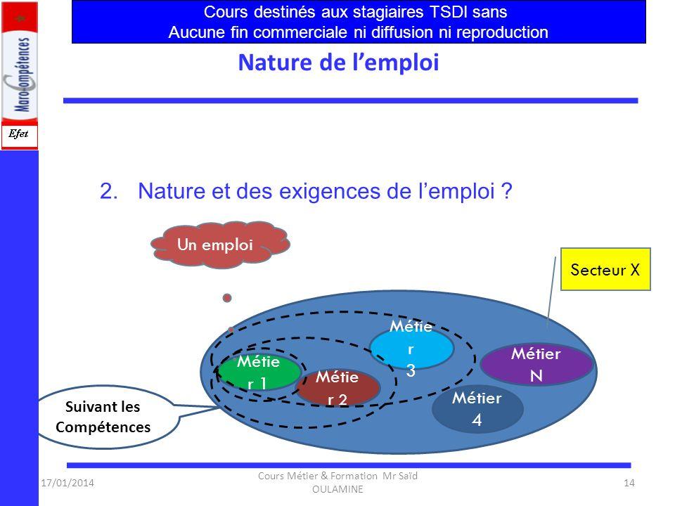 17/01/2014 Cours Métier & Formation Mr Saïd OULAMINE 13 Exigences de lEmploi Les entreprises dans le secteur(TDI) ont besoin de spécialistes compétent