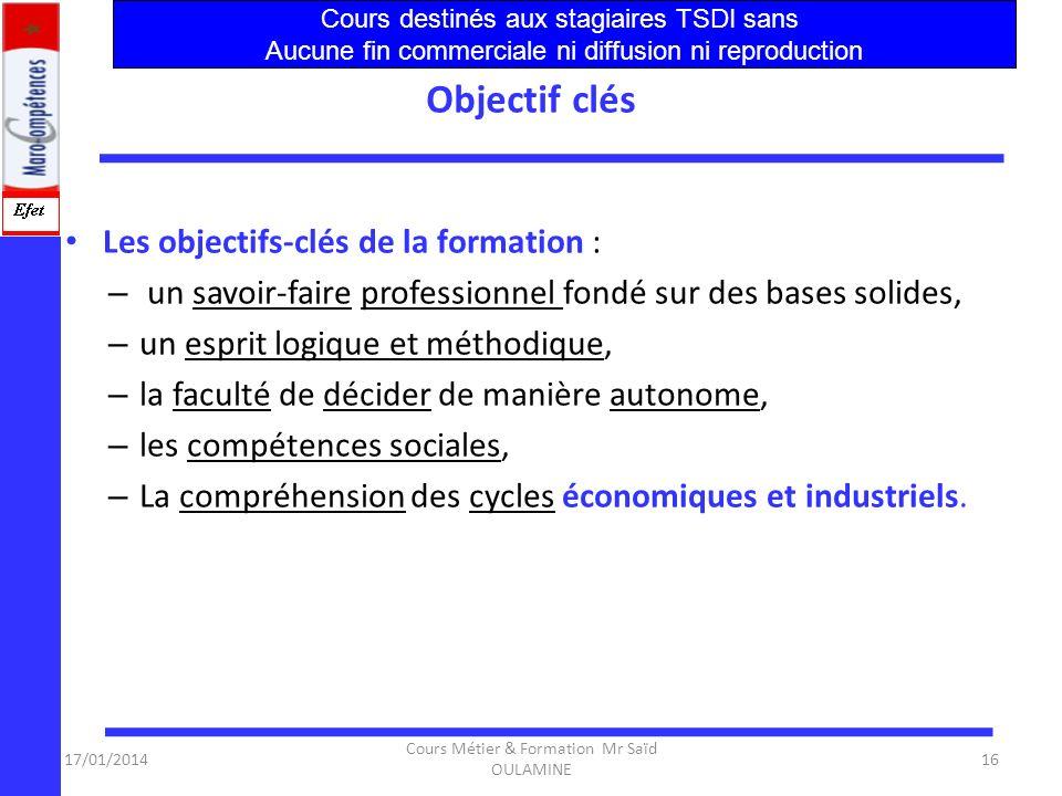 17/01/2014 Cours Métier & Formation Mr Saïd OULAMINE 15 Qualifications et Compétences Un diplôme dune école Technique supérieure atteste des qualifica