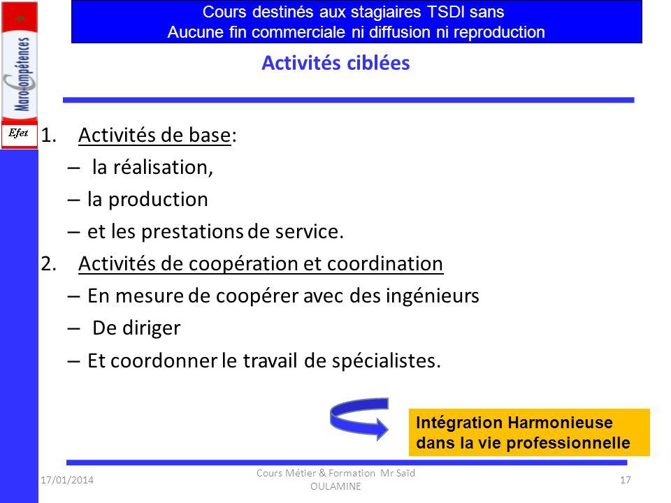 17/01/2014 Cours Métier & Formation Mr Saïd OULAMINE 16 Objectif clés Les objectifs-clés de la formation : – un savoir-faire professionnel fondé sur d