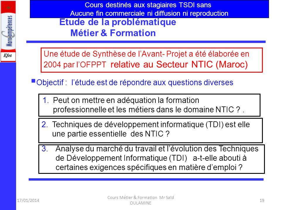 17/01/2014 Cours Métier & Formation Mr Saïd OULAMINE 18 Dichotomie : Métier vs Formation 18 Métiers Formations Comité de Réflexions et Études Administ