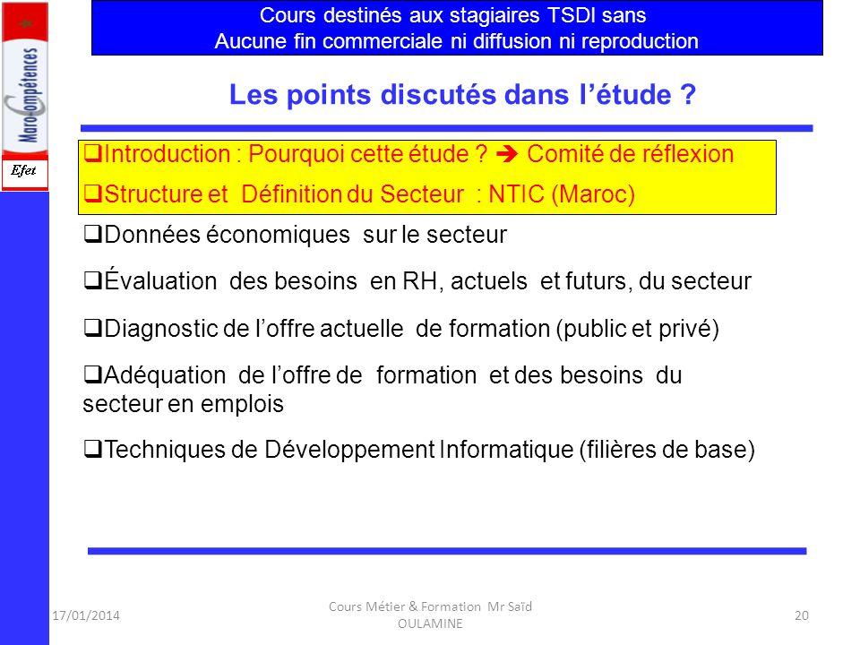 17/01/2014 Cours Métier & Formation Mr Saïd OULAMINE 19 Une étude de Synthèse de lAvant- Projet a été élaborée en 2004 par lOFPPT relative au Secteur