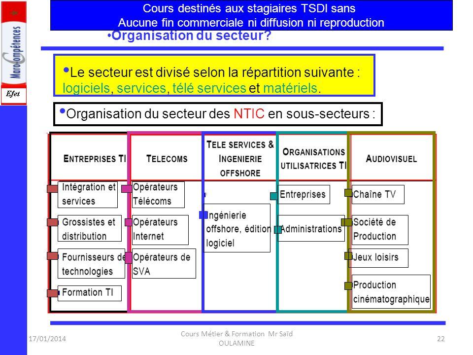 17/01/2014 Cours Métier & Formation Mr Saïd OULAMINE 21 Pourquoi ce projet ? Centre de Formation NTIC Ce projet vient en appui aux réformes engagées d
