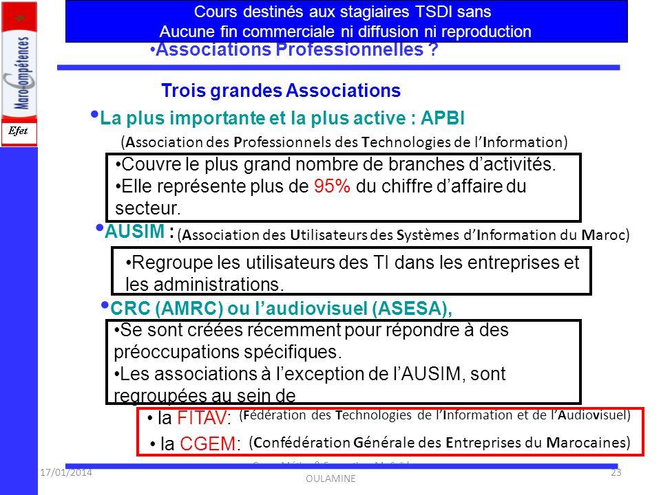 17/01/2014 Cours Métier & Formation Mr Saïd OULAMINE 22 Organisation du secteur? Organisation du secteur des NTIC en sous-secteurs : (Audiovis.) Le se