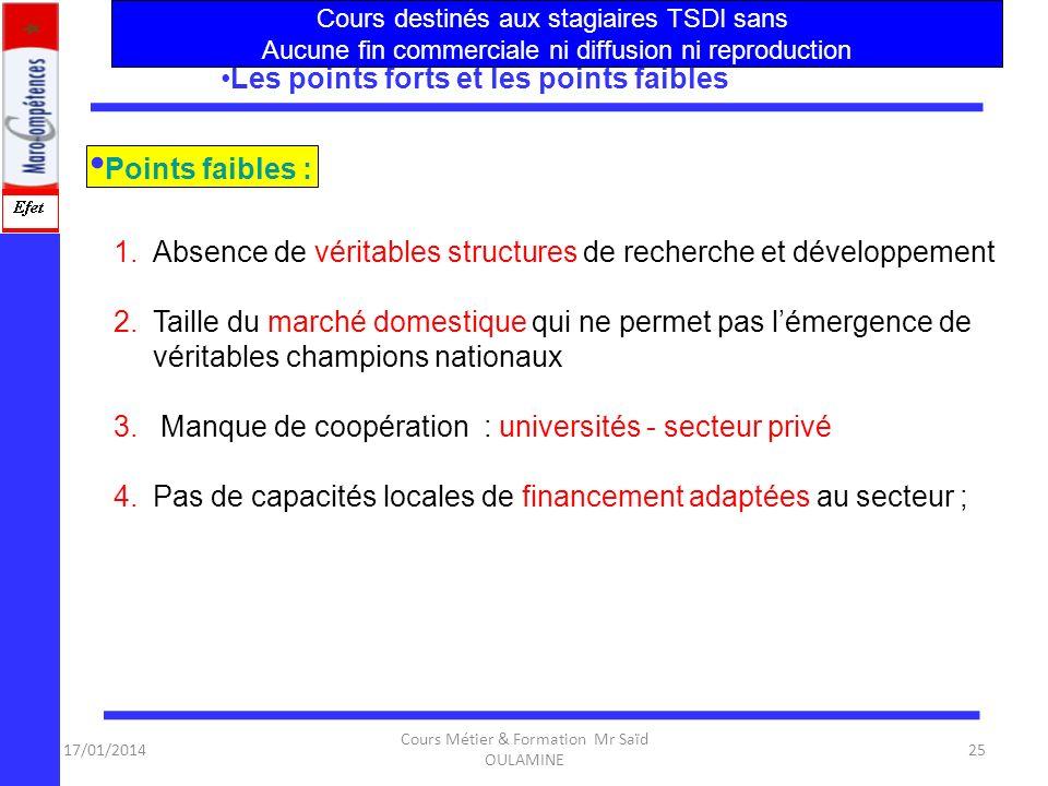 17/01/2014 Cours Métier & Formation Mr Saïd OULAMINE 24 Les points forts et les points faibles ? 1.Un tissu de PME performantes opérant dans le secteu