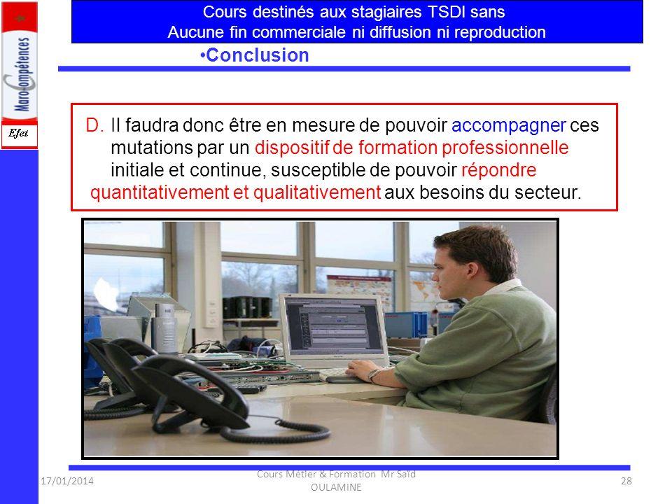 17/01/2014 Cours Métier & Formation Mr Saïd OULAMINE 27 Conclusion A.le secteur des NTIC au Maroc va connaître de très fortes mutations au-delà de 200