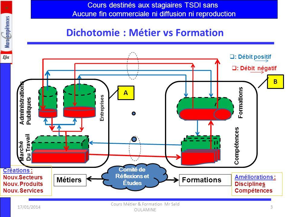 17/01/2014 Cours Métier & Formation Mr Saïd OULAMINE 2 Objectifs du Module 1.Le marché du travail dans le domaine des Techniques de Développement Info