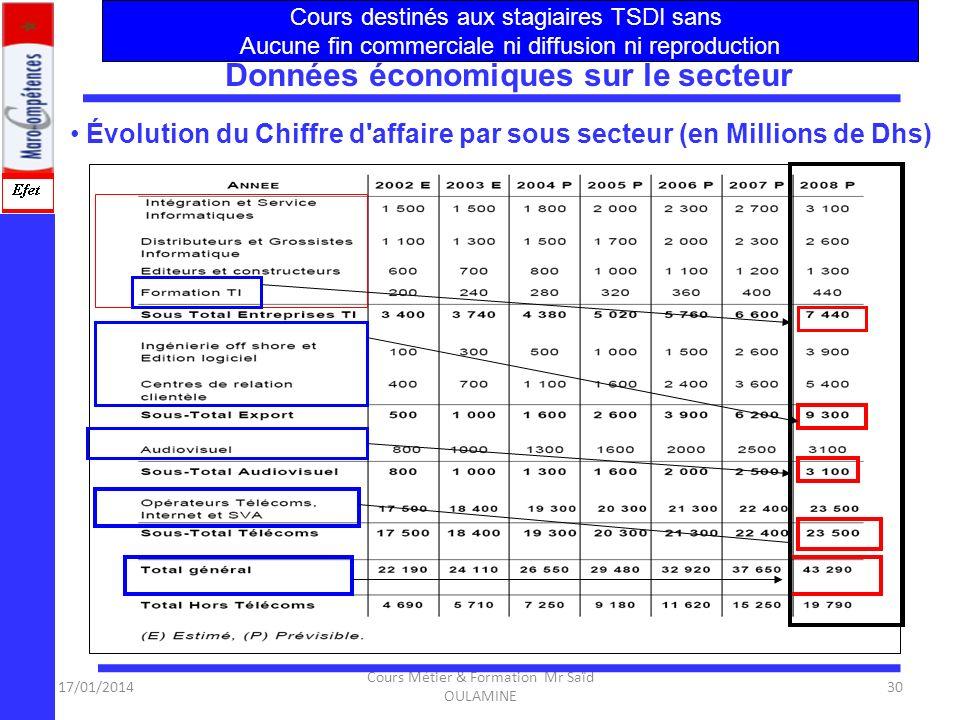 17/01/2014 Cours Métier & Formation Mr Saïd OULAMINE 29 Structure et Définition du Secteur :NTIC Évaluation des besoins en RH, actuels et futurs, du s