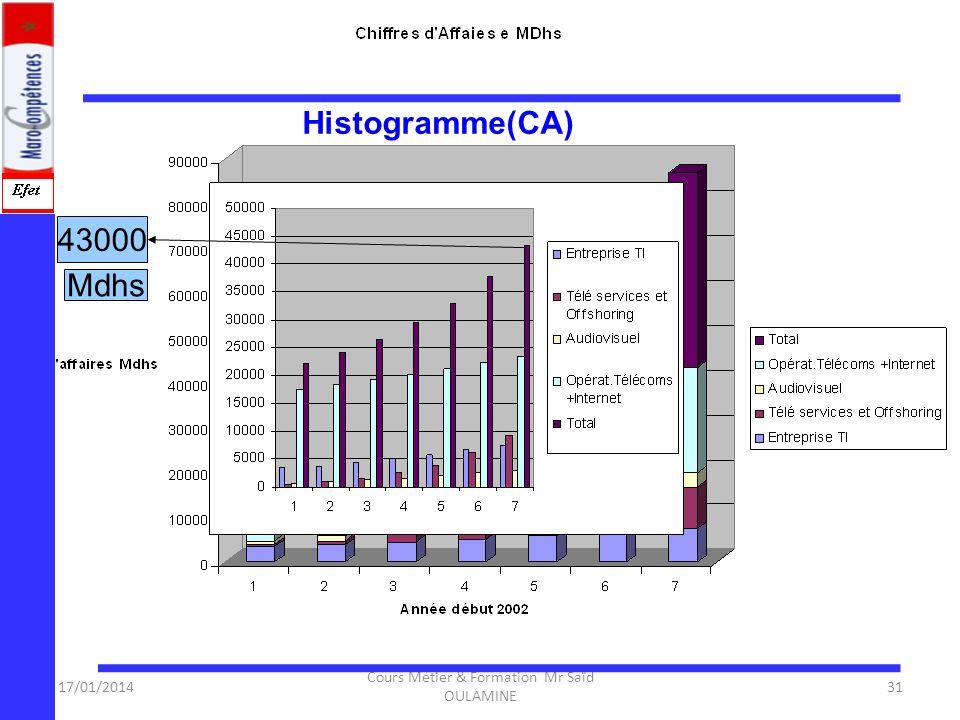 17/01/2014 Cours Métier & Formation Mr Saïd OULAMINE 30 Données économiques sur le secteur Évolution du Chiffre d'affaire par sous secteur (en Million