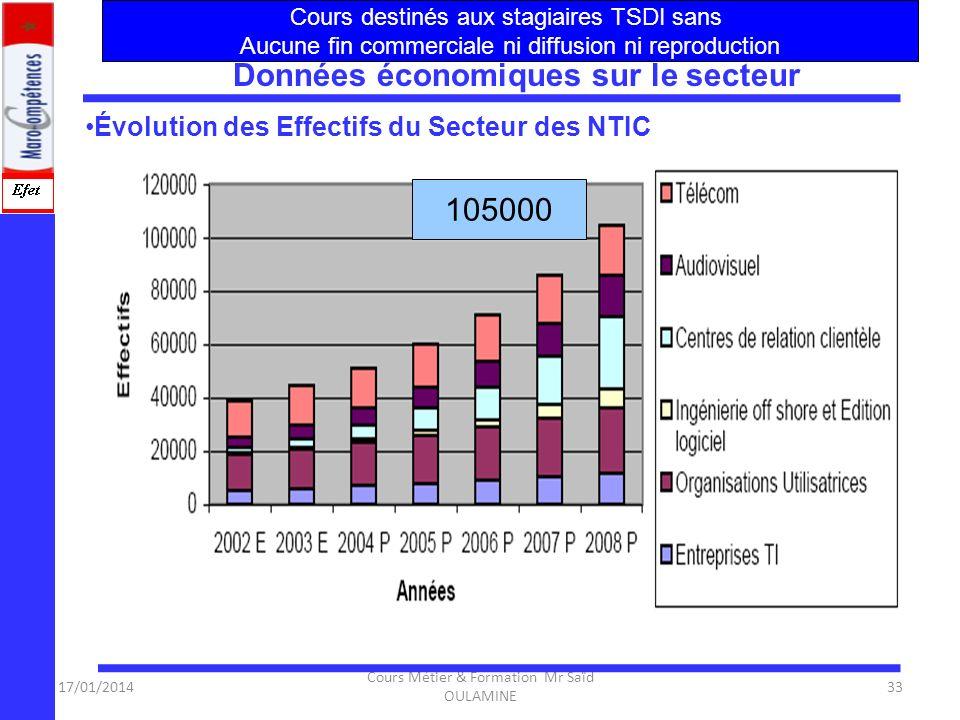 17/01/2014 Cours Métier & Formation Mr Saïd OULAMINE 32 Évolution des emplois du secteur des TI -Entreprises des technologies de linformation -- Organ