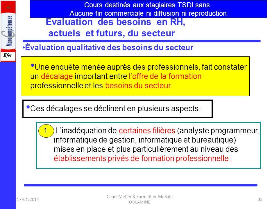 17/01/2014 Cours Métier & Formation Mr Saïd OULAMINE 34 Structure et Définition du Secteur :NTIC Données économiques sur le secteur Diagnostic de loff