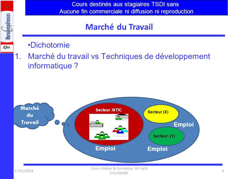 17/01/2014 Cours Métier & Formation Mr Saïd OULAMINE 44 Synthèse 4.La formation continue est concentrée sur la bureautique exclusivement qui reste un besoin à couvrir.