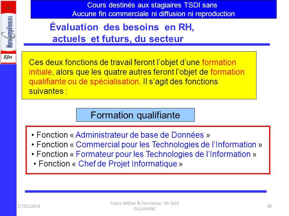 17/01/2014 Cours Métier & Formation Mr Saïd OULAMINE 39 F2 : Technicien Système et Réseau. Cette fonction correspond à un profil polyvalent réclamé pa