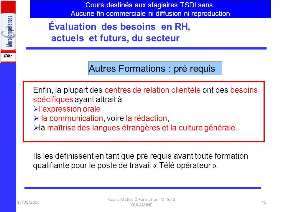 17/01/2014 Cours Métier & Formation Mr Saïd OULAMINE 40 Évaluation des besoins en RH, actuels et futurs, du secteur Ces deux fonctions de travail fero