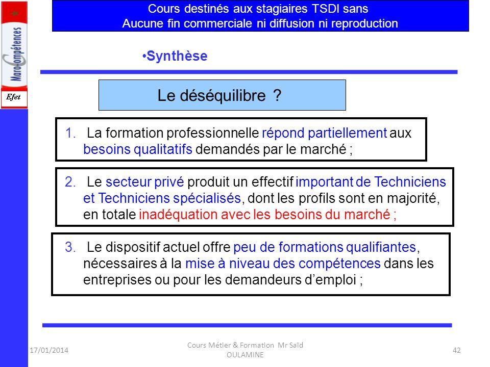 17/01/2014 Cours Métier & Formation Mr Saïd OULAMINE 41 Enfin, la plupart des centres de relation clientèle ont des besoins spécifiques ayant attrait