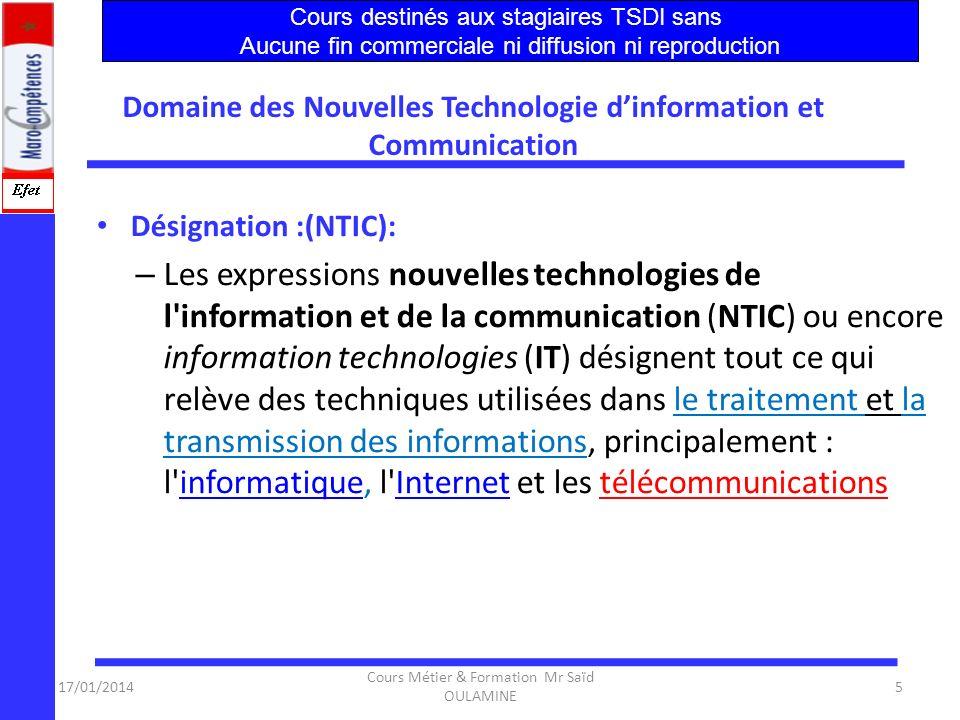 17/01/2014 Cours Métier & Formation Mr Saïd OULAMINE 55 Adéquation de loffre de formation et des besoins du secteur Constats 1.Dès 2006, le dispositif devra répondre au déficit de profils compétents sur le marché.