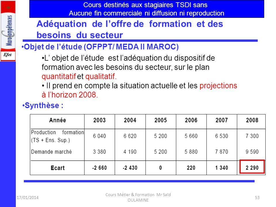 17/01/2014 Cours Métier & Formation Mr Saïd OULAMINE 52 Structure et Définition du Secteur :NTIC Données économiques sur le secteur Evaluation des bes