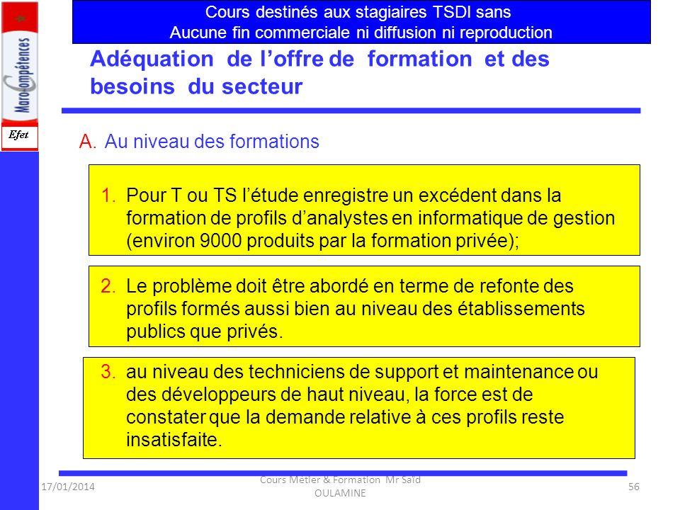 17/01/2014 Cours Métier & Formation Mr Saïd OULAMINE 55 Adéquation de loffre de formation et des besoins du secteur Constats 1.Dès 2006, le dispositif