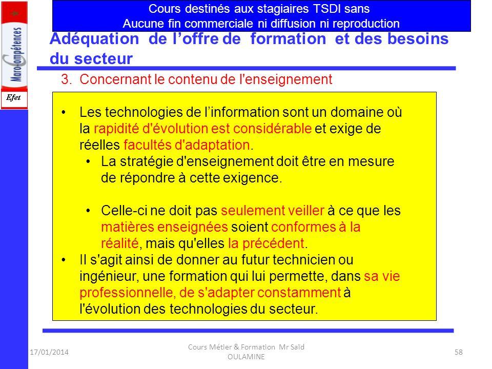 17/01/2014 Cours Métier & Formation Mr Saïd OULAMINE 57 B.Les principales actions à mener pour pallier au décalage constaté Adéquation de loffre de fo