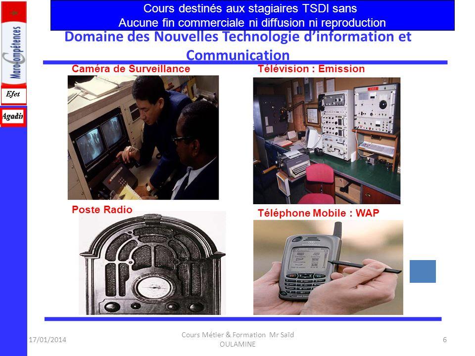 17/01/2014 Cours Métier & Formation Mr Saïd OULAMINE 5 Domaine des Nouvelles Technologie dinformation et Communication Désignation :(NTIC): – Les expr