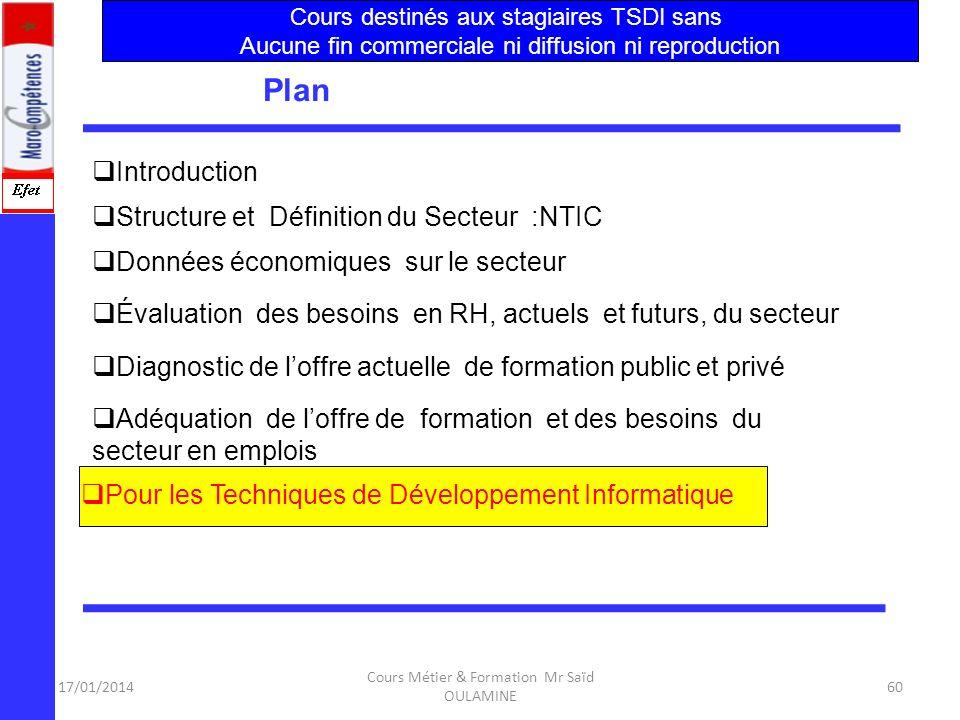 17/01/2014 Cours Métier & Formation Mr Saïd OULAMINE 59 Adéquation de loffre de formation et des besoins du secteur 4.Au niveau de la formation contin