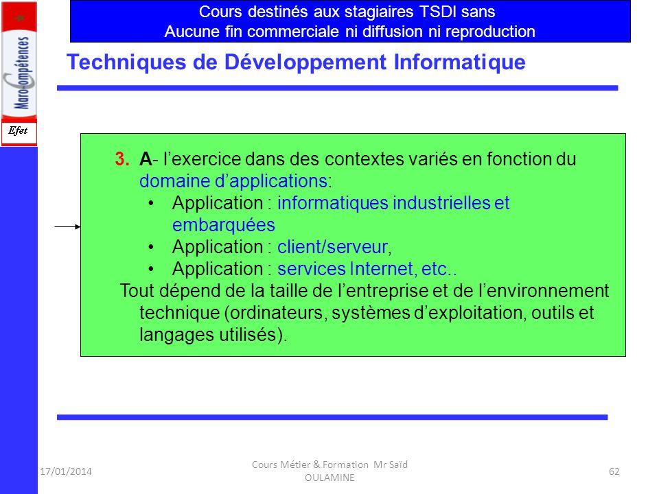 17/01/2014 Cours Métier & Formation Mr Saïd OULAMINE 61 Techniques de Développement Informatique Le métier de TSDI exige 4 points essentiels : Le déve