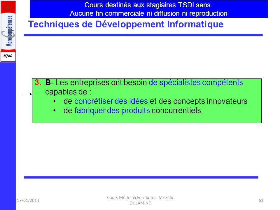 17/01/2014 Cours Métier & Formation Mr Saïd OULAMINE 62 Techniques de Développement Informatique 3.A- lexercice dans des contextes variés en fonction