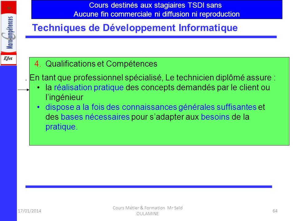 17/01/2014 Cours Métier & Formation Mr Saïd OULAMINE 63 Techniques de Développement Informatique 3.B- Les entreprises ont besoin de spécialistes compé