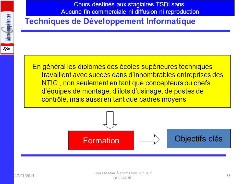 17/01/2014 Cours Métier & Formation Mr Saïd OULAMINE 64 Techniques de Développement Informatique. En tant que professionnel spécialisé, Le technicien