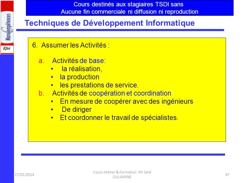 17/01/2014 Cours Métier & Formation Mr Saïd OULAMINE 66 Les objectifs-clés de la formation sont au Nombre de 6 Techniques de Développement Informatiqu