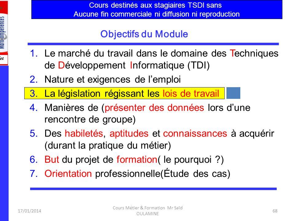 17/01/2014 Cours Métier & Formation Mr Saïd OULAMINE 67 Techniques de Développement Informatique a.Activités de base: la réalisation, la production le