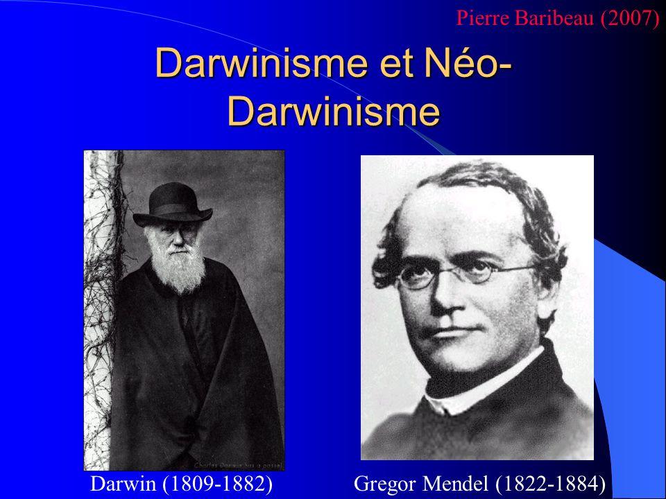 Darwinisme et Néo- Darwinisme Gregor Mendel (1822-1884)Darwin (1809-1882) Pierre Baribeau (2007)