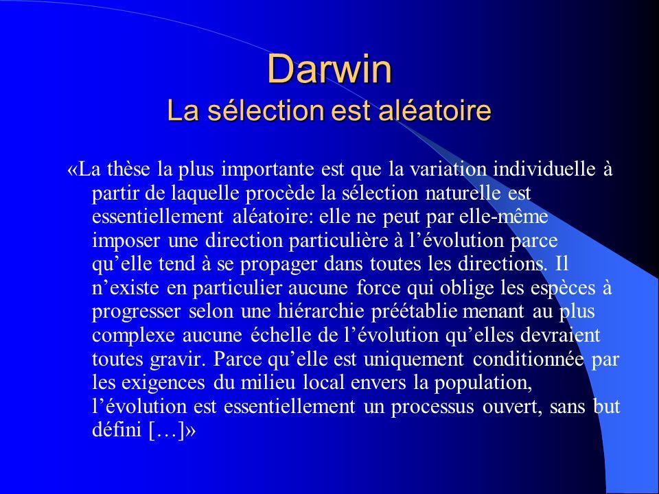 Darwin La sélection est aléatoire «La thèse la plus importante est que la variation individuelle à partir de laquelle procède la sélection naturelle e