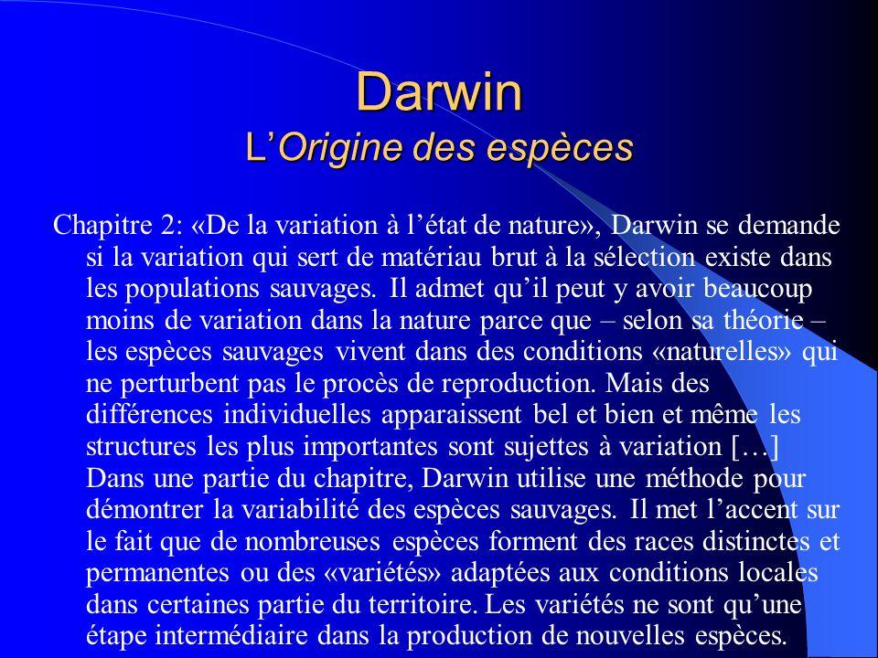 Darwin LOrigine des espèces Chapitre 2: «De la variation à létat de nature», Darwin se demande si la variation qui sert de matériau brut à la sélectio