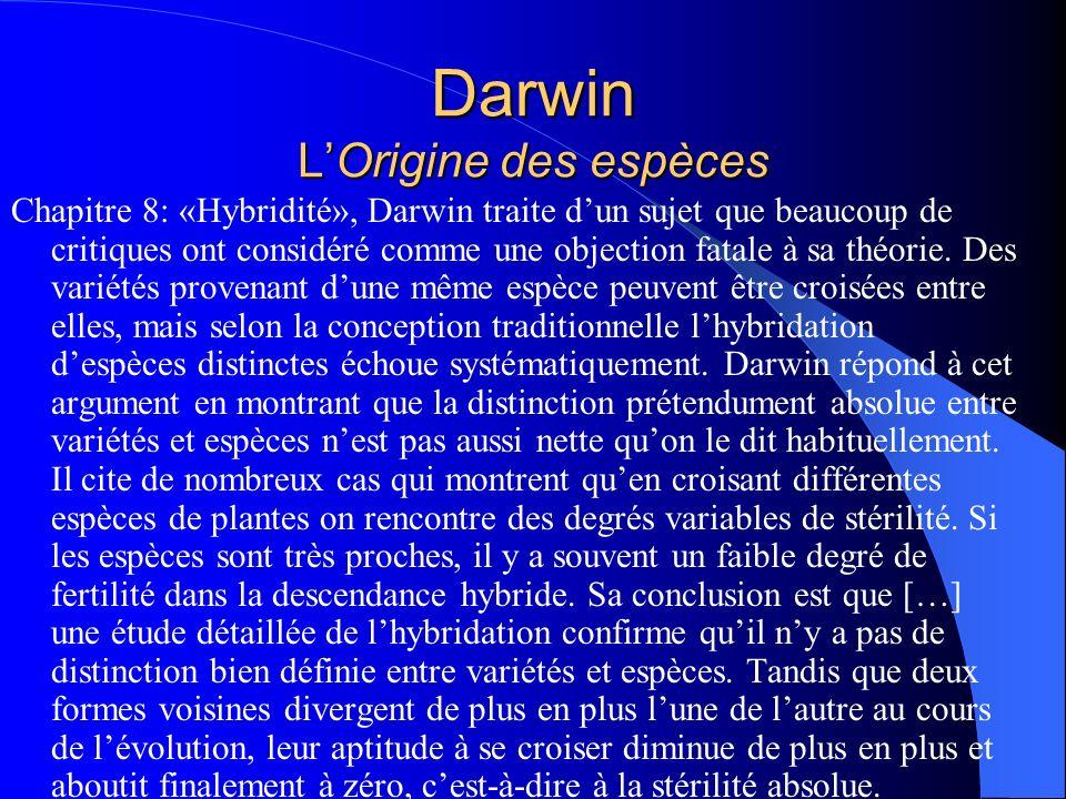Darwin LOrigine des espèces Chapitre 8: «Hybridité», Darwin traite dun sujet que beaucoup de critiques ont considéré comme une objection fatale à sa t