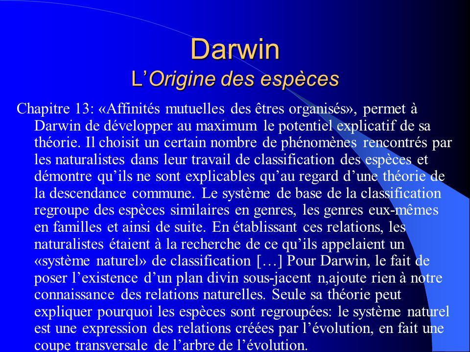 Darwin LOrigine des espèces Chapitre 13: «Affinités mutuelles des êtres organisés», permet à Darwin de développer au maximum le potentiel explicatif d