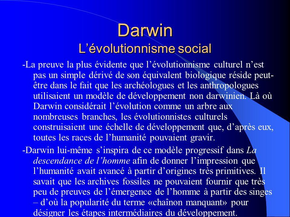 Darwin Lévolutionnisme social -La preuve la plus évidente que lévolutionnisme culturel nest pas un simple dérivé de son équivalent biologique réside p