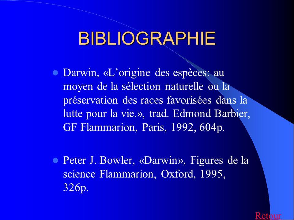 BIBLIOGRAPHIE Darwin, «Lorigine des espèces: au moyen de la sélection naturelle ou la préservation des races favorisées dans la lutte pour la vie.», t