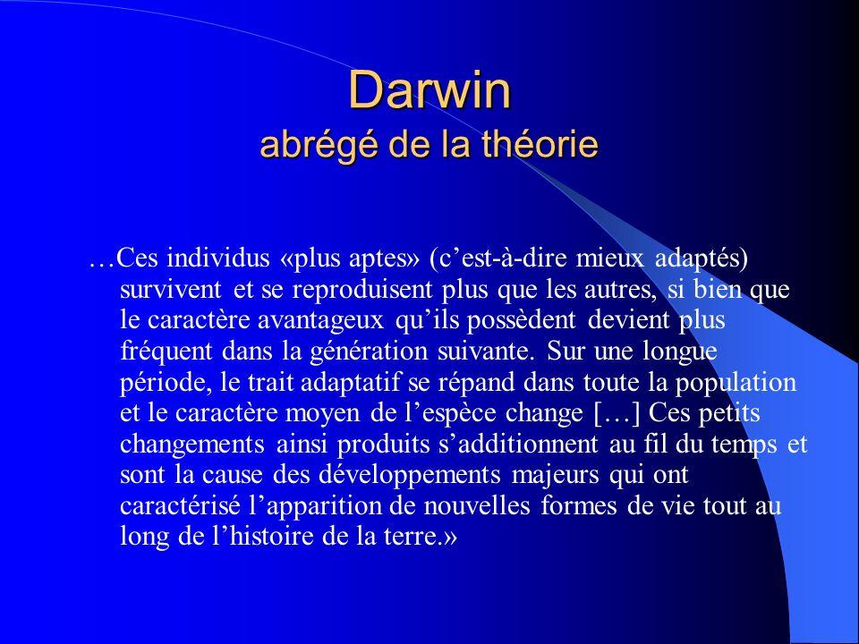 Darwin abrégé de la théorie …Ces individus «plus aptes» (cest-à-dire mieux adaptés) survivent et se reproduisent plus que les autres, si bien que le c