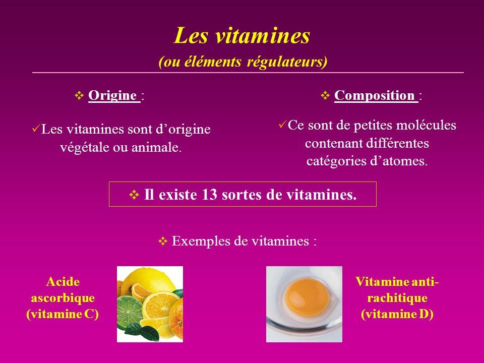 Les vitamines Les vitamines sont dorigine végétale ou animale. Il existe 13 sortes de vitamines. Ce sont de petites molécules contenant différentes ca
