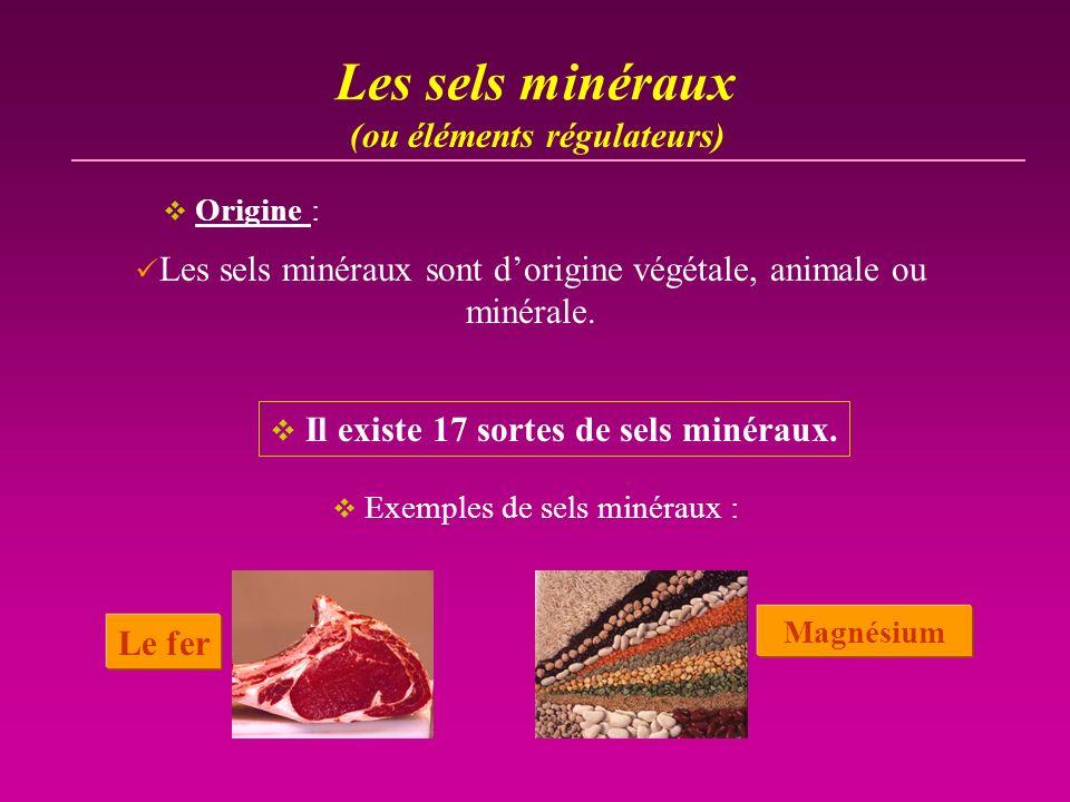 Les sels minéraux Les sels minéraux sont dorigine végétale, animale ou minérale. Il existe 17 sortes de sels minéraux. (ou éléments régulateurs) Exemp