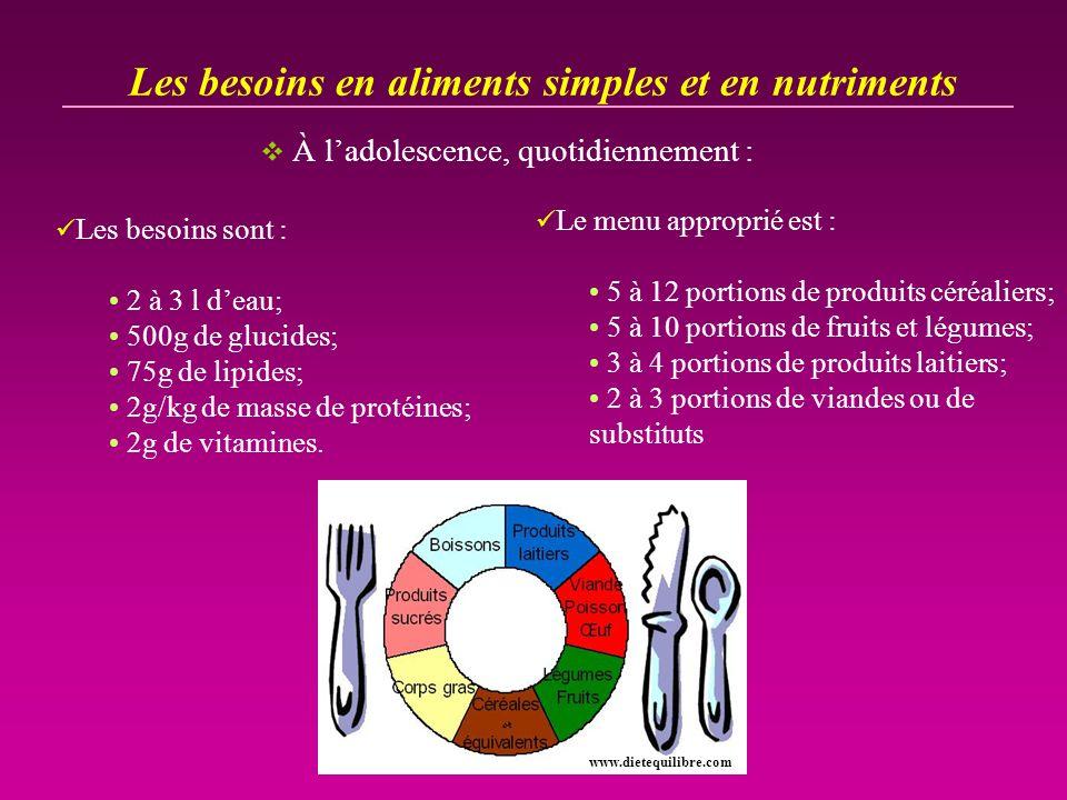 Les besoins en aliments simples et en nutriments À ladolescence, quotidiennement : Les besoins sont : 2 à 3 l deau; 500g de glucides; 75g de lipides;