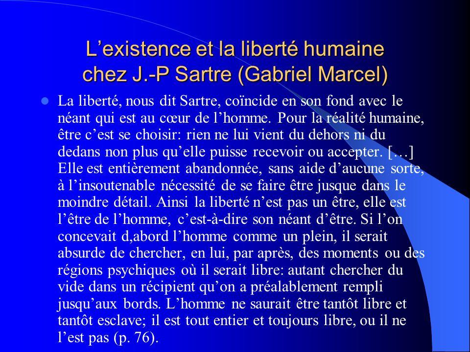 Lexistence et la liberté humaine chez J.-P Sartre (Gabriel Marcel) La liberté, nous dit Sartre, coïncide en son fond avec le néant qui est au cœur de