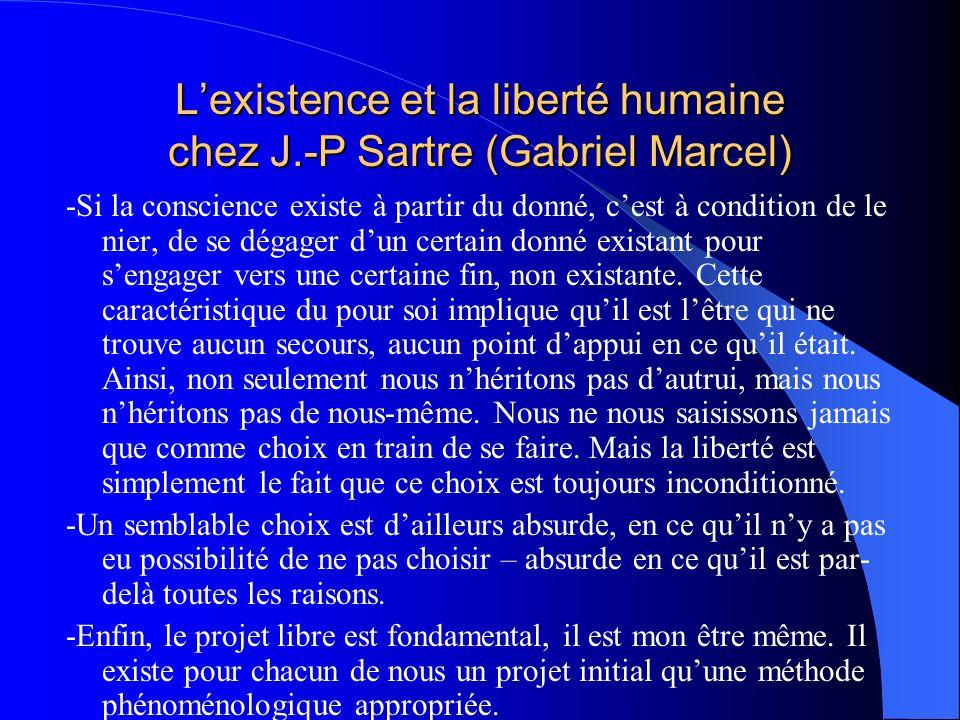 Lexistence et la liberté humaine chez J.-P Sartre (Gabriel Marcel) -Si la conscience existe à partir du donné, cest à condition de le nier, de se déga