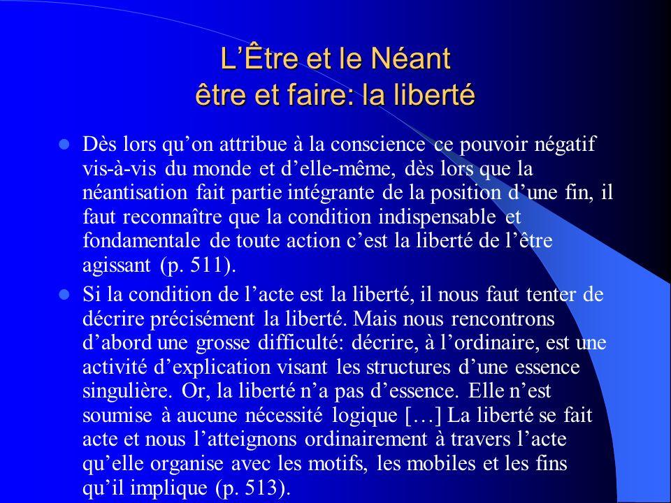 LÊtre et le Néant être et faire: la liberté Dès lors quon attribue à la conscience ce pouvoir négatif vis-à-vis du monde et delle-même, dès lors que l