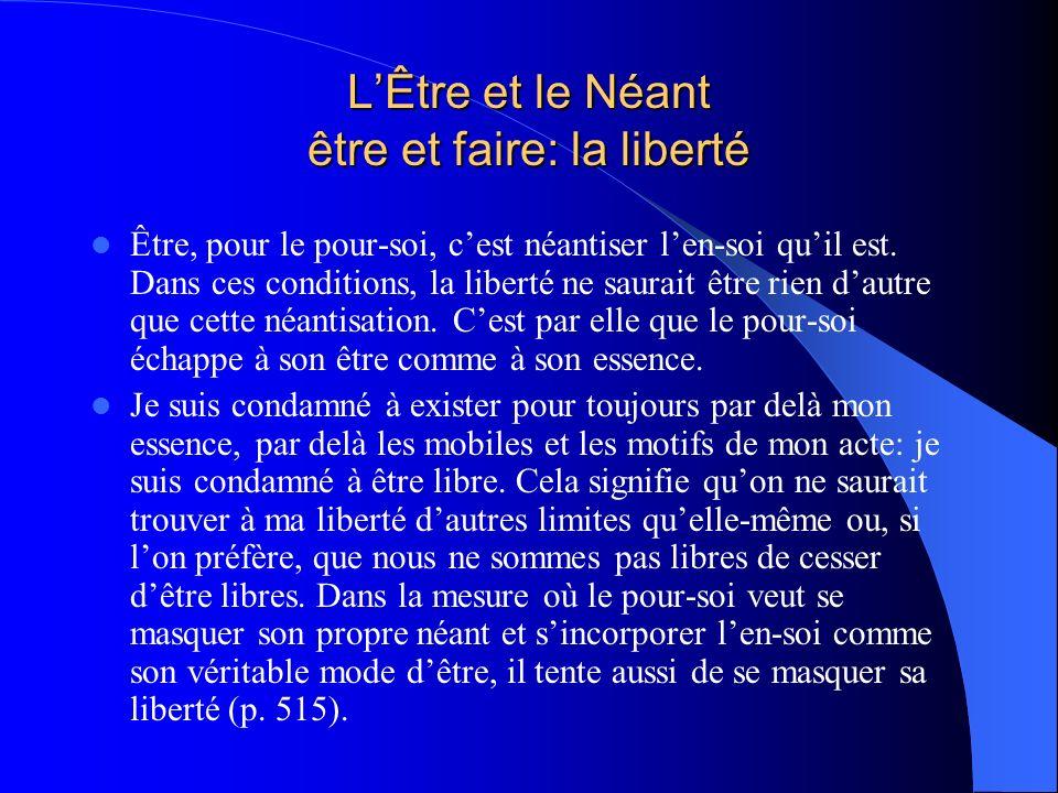 LÊtre et le Néant être et faire: la liberté Être, pour le pour-soi, cest néantiser len-soi quil est. Dans ces conditions, la liberté ne saurait être r